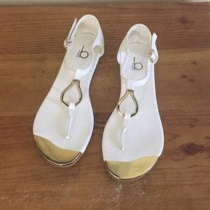 Bakers White & Gold Flat Sandals Size 6